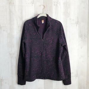 [Lucy] Activewear Leopard Print Half Zip Pullover
